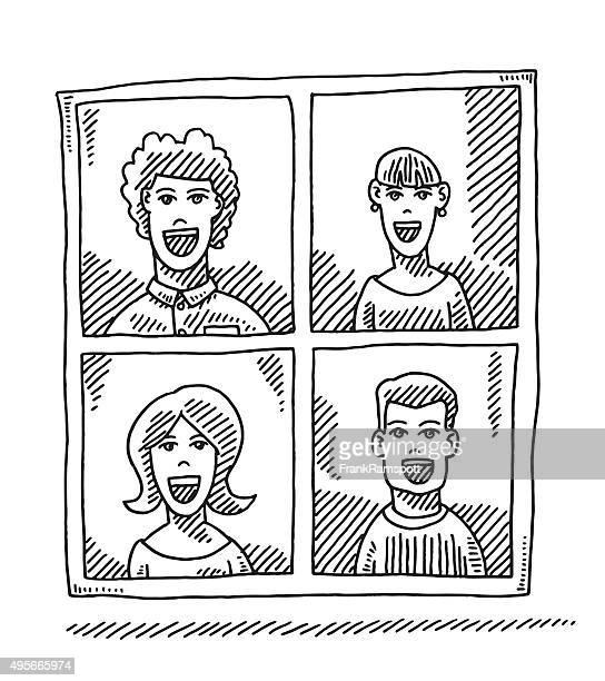 Bild Team vier Personen zeichnen