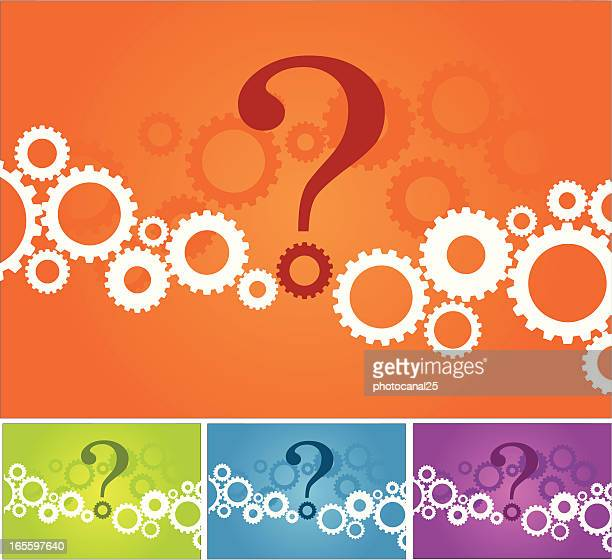 picture with gears with a question mark in the middle - co ordination stock illustrations