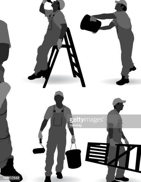 ilustraciones, imágenes clip art, dibujos animados e iconos de stock de house pintor - pintores de brocha gorda