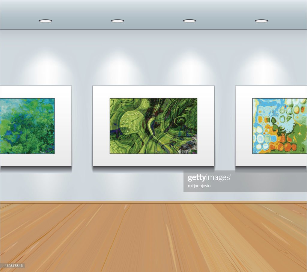 Pictures  on the wall at art gallery : stock illustration