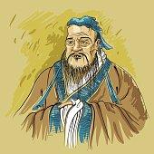 Picturesque portrait of the Chinese sage Confucius