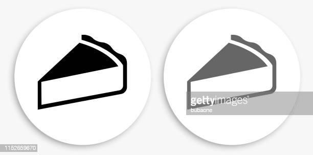 ilustrações, clipart, desenhos animados e ícones de ícone redondo preto e branco da torta - bolo