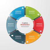 Pie chart circle infographic template with 6 options.