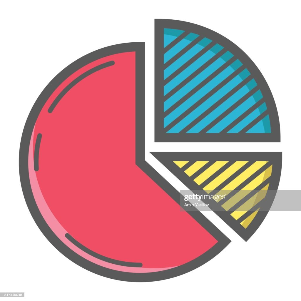 Pie Chart colorful line icon, business and diagram, vector graphics, a filled pattern on a white background, eps 10.