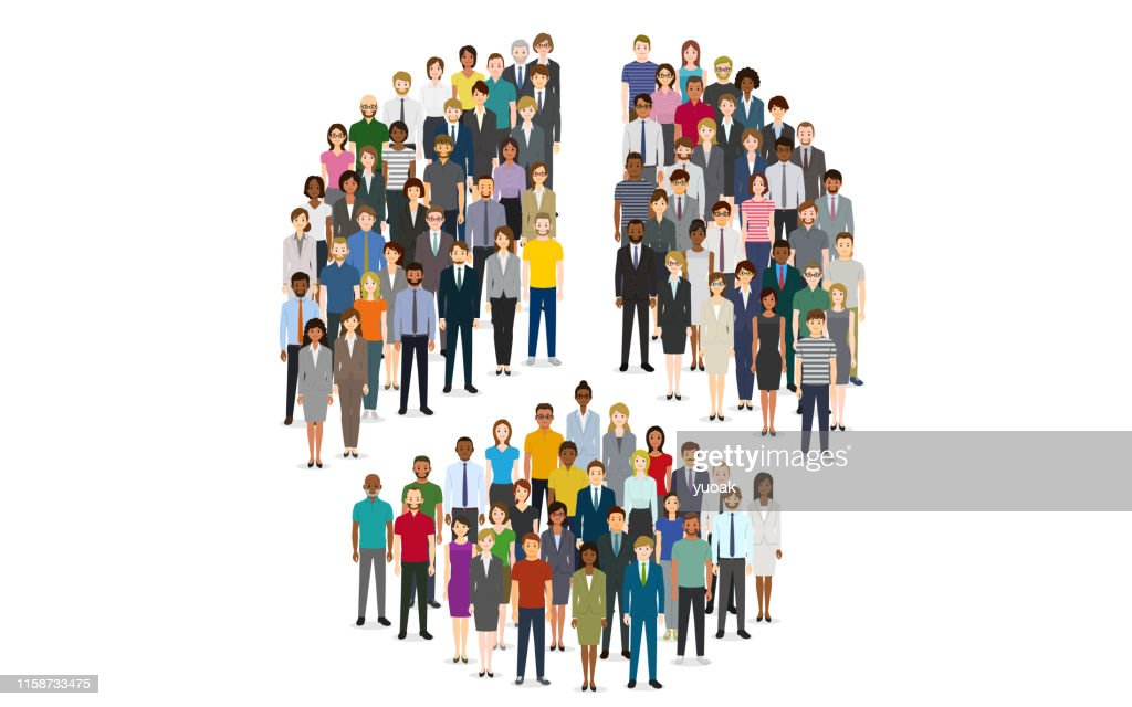 Pie chart composed of people : Stock Illustration