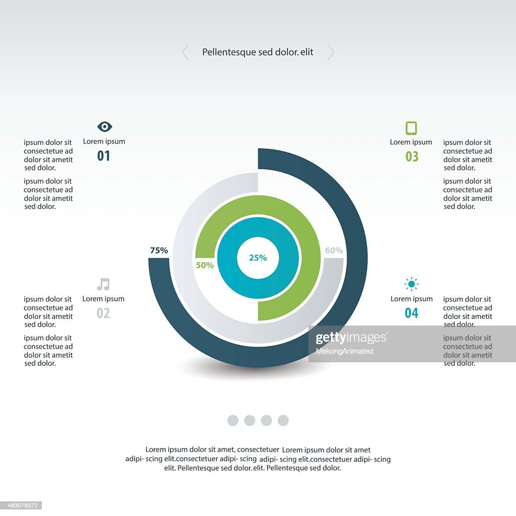 Pie chart graphic template for business design, infographics, re