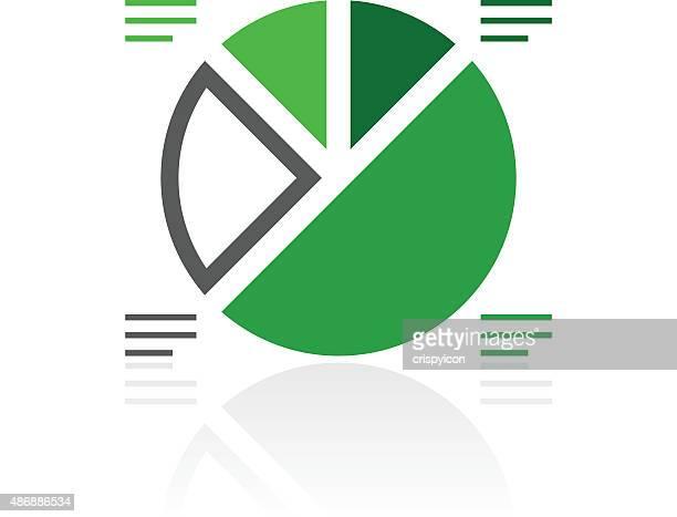 Gráfico circular do ícone sobre um fundo branco.