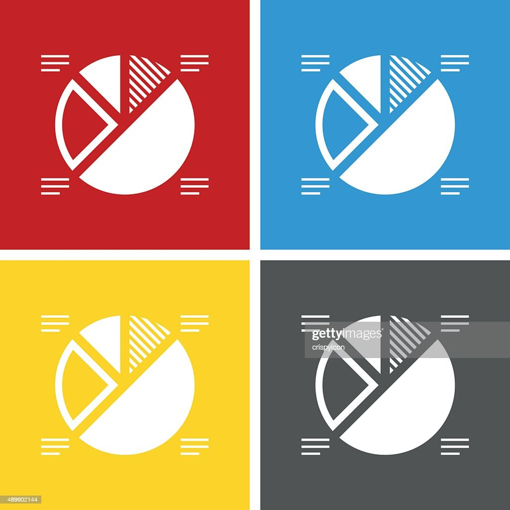 Pie Chart Icon On Square Buttons Square Series Vector Art Getty Images