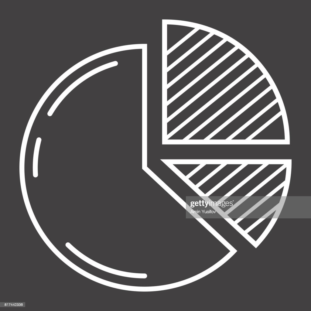 Pie Chart line icon, business and diagram, vector graphics, a linear pattern on a black background, eps 10.