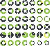 Pie charts and circular graph infographics set