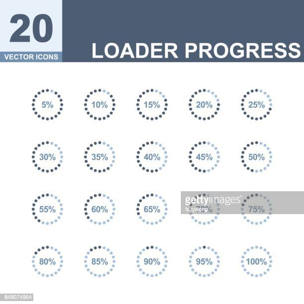 Pie charts, circle percentage diagrams of loading