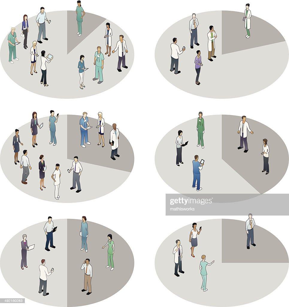 Pie Charts Healthcare People : Vector Art