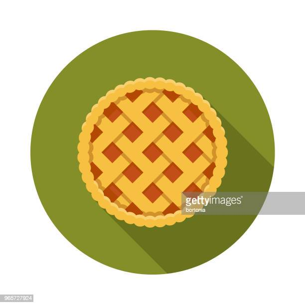 Pie Flat Design Autumn Icon with Side Shadow