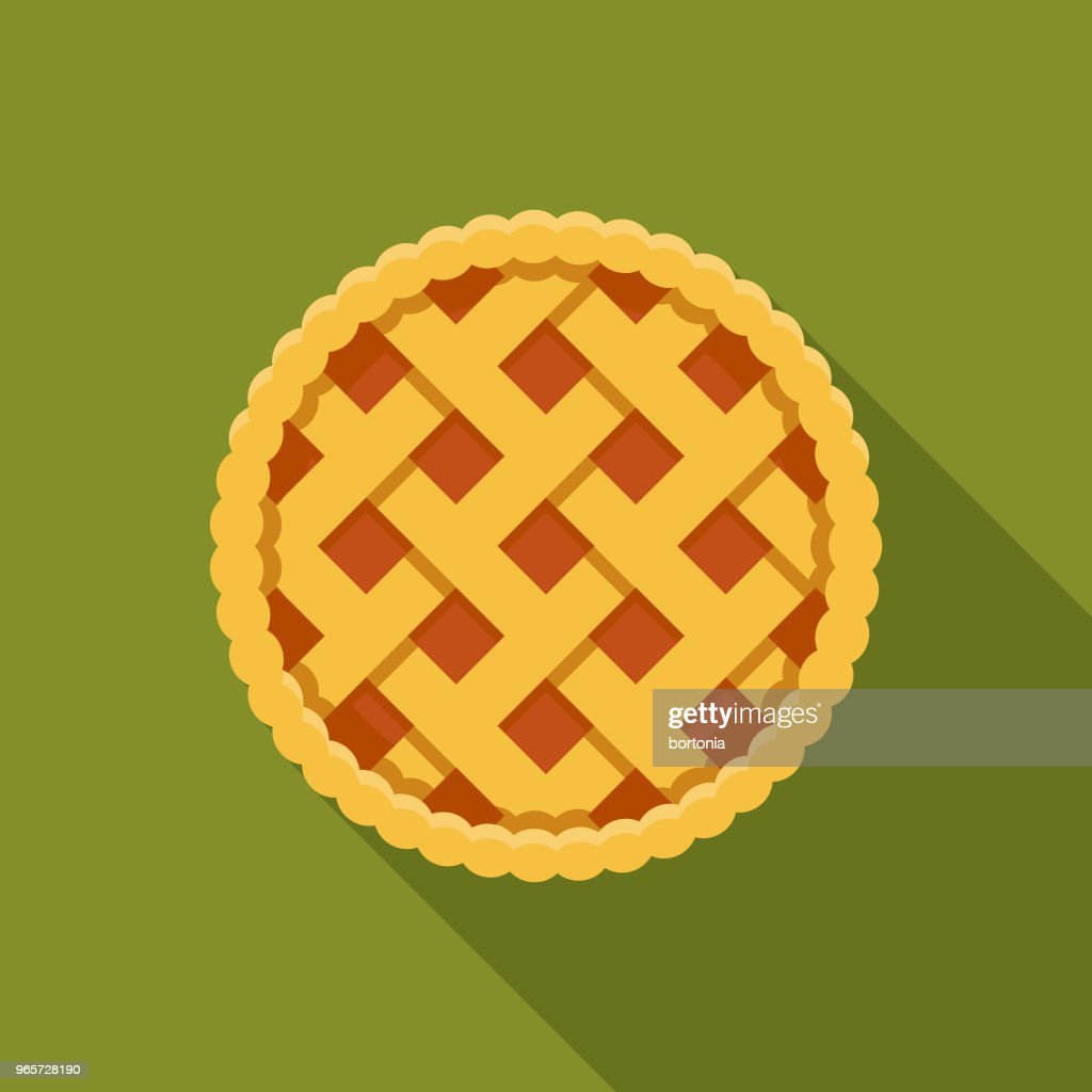 Pie Flat Design Autumn Icon with Side Shadow : stock illustration