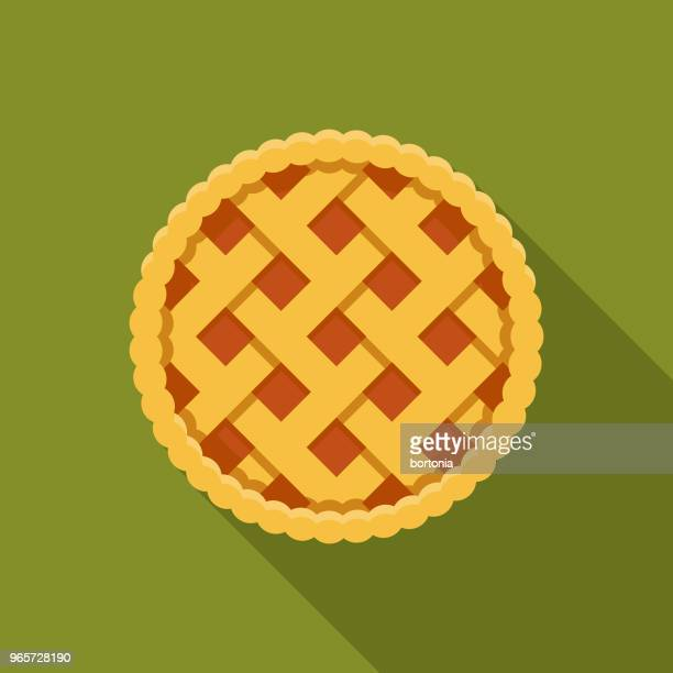 pie flat design autumn icon with side shadow - pastry lattice stock illustrations, clip art, cartoons, & icons