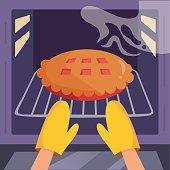 Pie in the oven. HVector. Cartoon