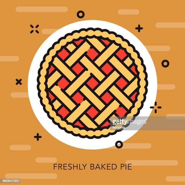 ilustrações, clipart, desenhos animados e ícones de ícone de ação de graças de contorno aberto torta - pastry lattice