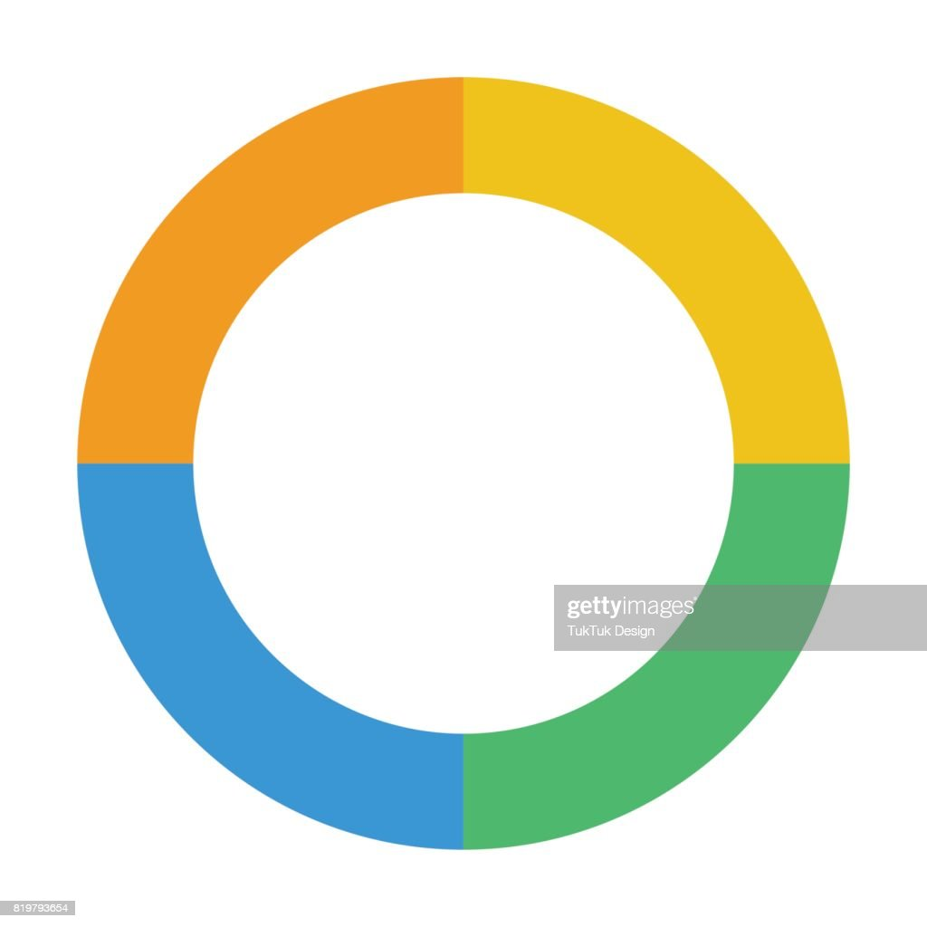 Pie Or Doughnut Chart Icon Flat Color Vector Illustration stock