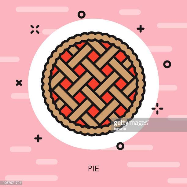 pie thin line dessert icon - pastry lattice stock illustrations, clip art, cartoons, & icons