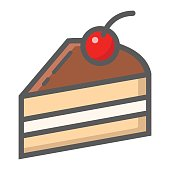 Piece of cake filled outline icon, food and drink, sweet sign vector graphics, a colorful line pattern on a white background, eps 10.