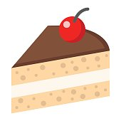 Piece of cake flat icon, food and drink, sweet sign vector graphics, a colorful solid pattern on a white background, eps 10.
