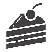 Piece of cake glyph icon, food and drink, sweet sign vector graphics, a solid pattern on a white background, eps 10.