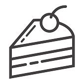 Piece of cake line icon, food and drink, sweet sign vector graphics, a linear pattern on a white background, eps 10.
