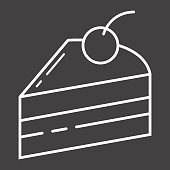 Piece of cake line icon, food and drink, sweet sign vector graphics, a linear pattern on a black background, eps 10.