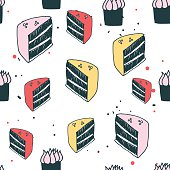 Piece of cake muffin dessert Delicious food seamless background pattern