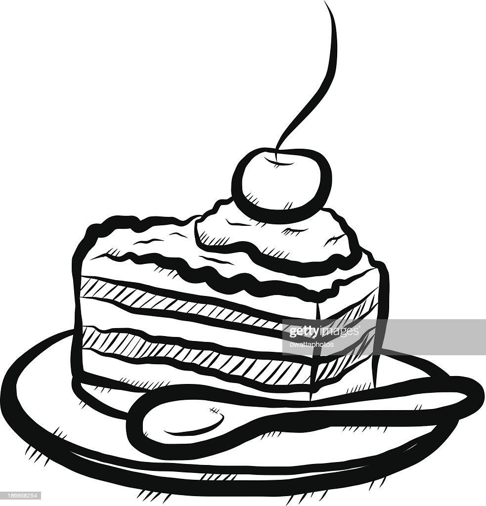 Stuck Kuchen Skizze Vektorgrafik Getty Images