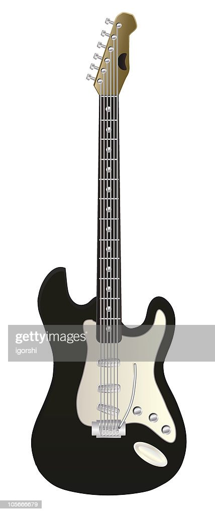 A piece of electric guitar in white background