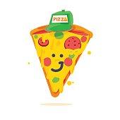 piece of pizza cartoon character - vector