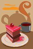 A piece of red cake and a cup of coffee on a table