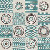 Pieces of American Indians ethnic patterns compiled in seamless texture.