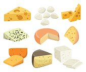 Pieces of Cheese isolated on white.