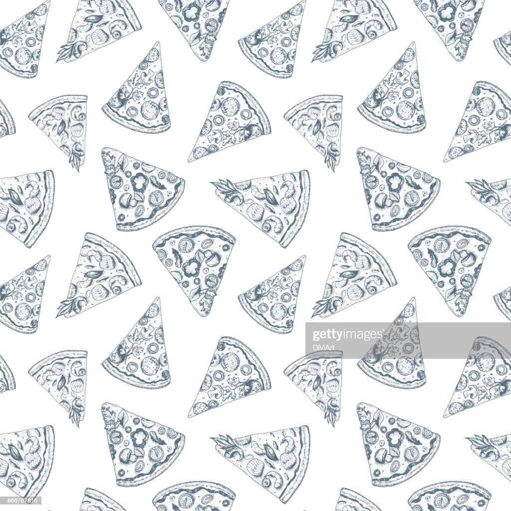Stück Pizza Musterdesign Hand Gezeichnete Skizzevektorillustration ...
