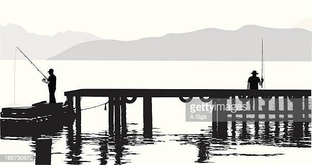 Pier Fishing Vector Silhouette