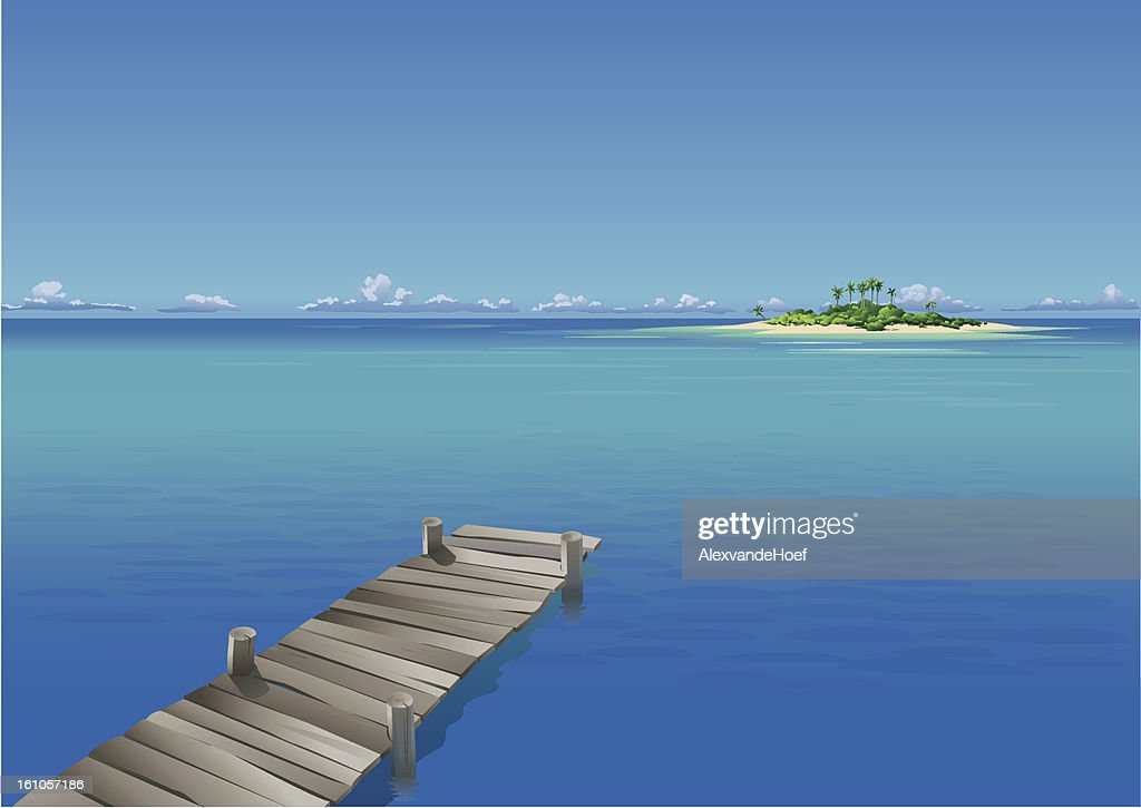 Pier in tropical sea and island : Vector Art