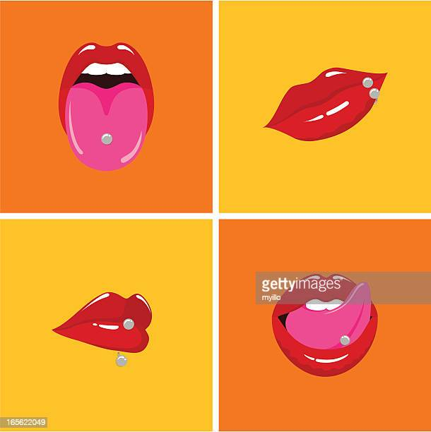 piercings - mouth stock illustrations, clip art, cartoons, & icons