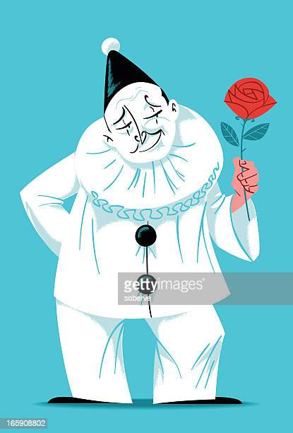 pierrot the clown - classical theater stock illustrations, clip art, cartoons, & icons