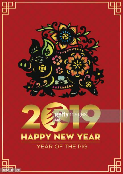 pig 2019, year of the pig, 2019, happy new year, chinese new year, pig papercut - year of the pig stock illustrations