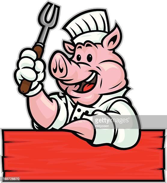 pig bbq chef - pig stock illustrations