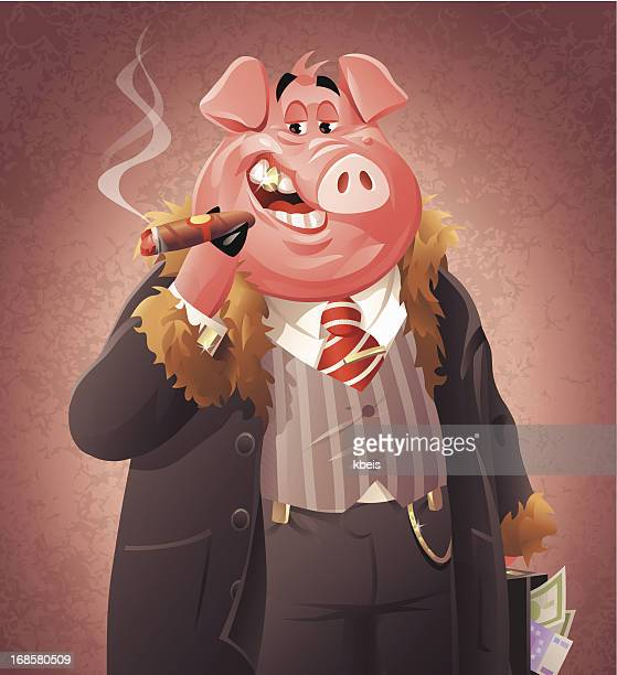 pig business - millionnaire stock illustrations, clip art, cartoons, & icons