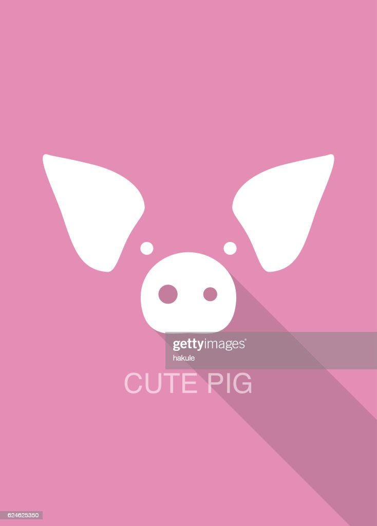 pig cartoon face, flat icon design