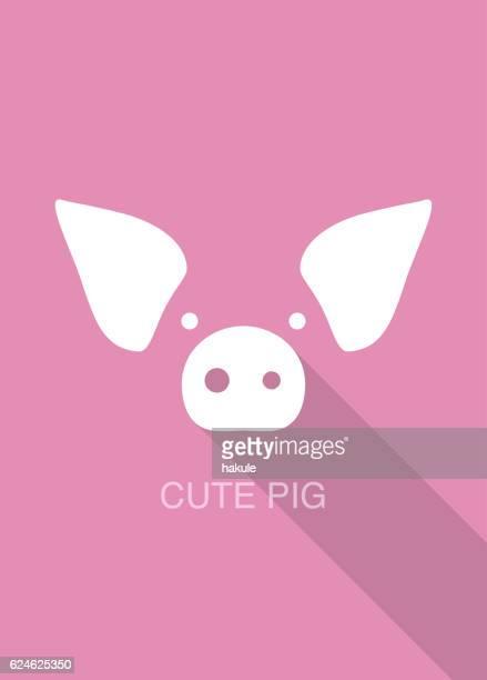 pig cartoon face, flat icon design