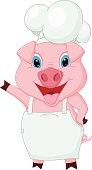 Pig chef cartoon waving hand