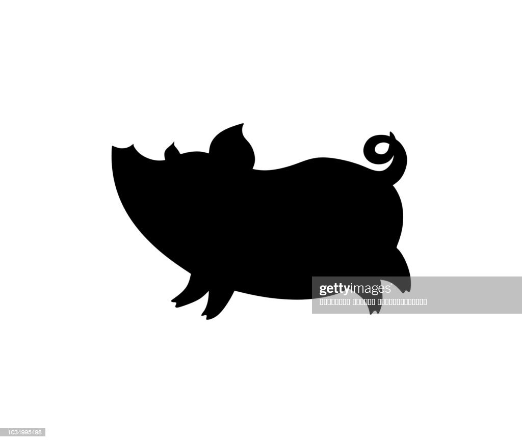 pig, comical silhouette