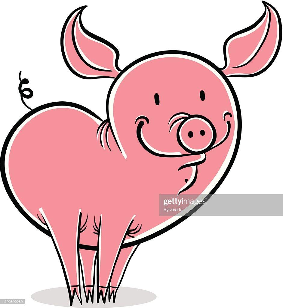 Pig funny cartoon.