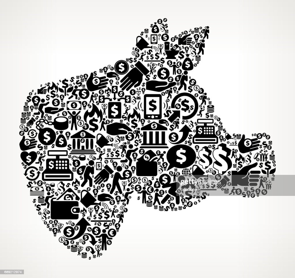 Pig Head  Money and Finance Black and White Icon Background : Stock Illustration