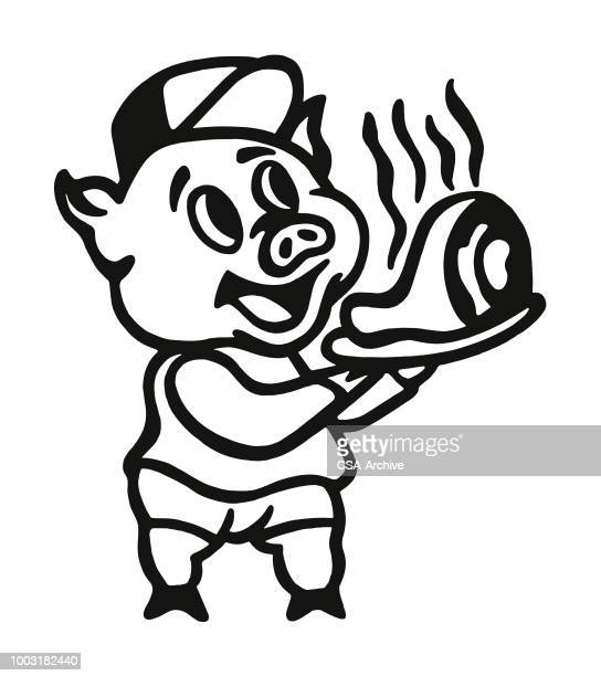 Pig Holding a Plate of Pork